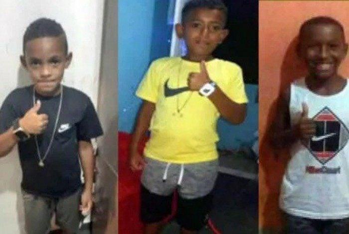 Lucas Matheus, 9 anos, Alexandre Silva, 11, e Fernando Henrique,12
