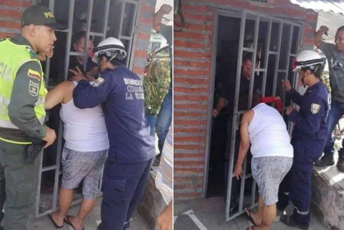 Mulher fica com a cabeça entalada na porta da vizinha