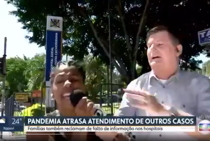 Mulher invade link da TV Globo