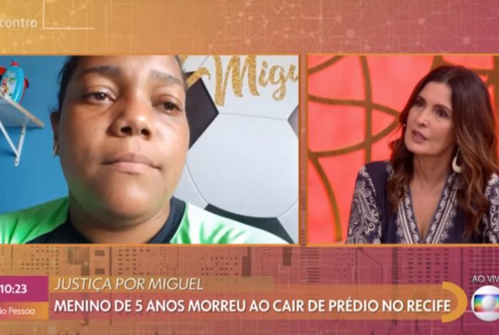 Fátima Bernardes conversa com Mirtes Renata Souza, mãe de Miguel